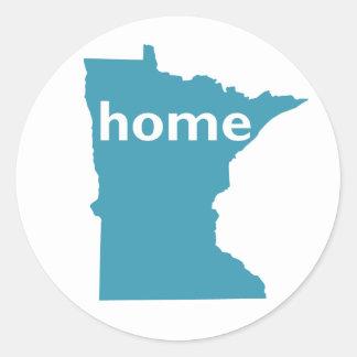 Hogar de Minnesota Pegatina Redonda