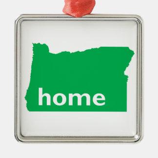 Hogar de Oregon Adorno Cuadrado Plateado