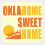 Hogar del dulce de Oklahome Pegatina Cuadrada