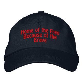 Hogar del libre debido al valiente gorras bordadas