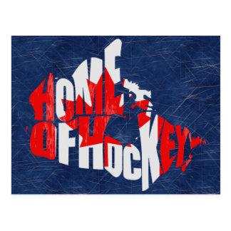 Hogar del mapa de Canadá del hockey Tarjeta Postal