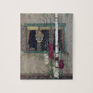 Hogar del vintage de la ventana, del Birdcage y de Puzzle