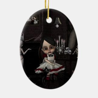 Hogar dulce casero adorno navideño ovalado de cerámica