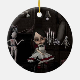 Hogar dulce casero adorno navideño redondo de cerámica