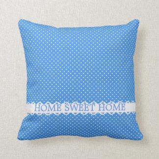 Hogar dulce casero de lujo retro blanco azul de lo almohada