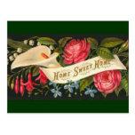 Hogar dulce casero floral del vintage lindo tarjetas postales