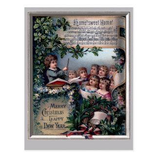 Hogar dulce casero para el navidad postales