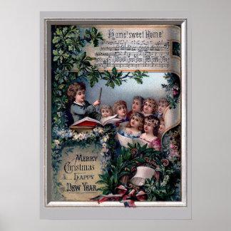 Hogar dulce casero para el navidad póster