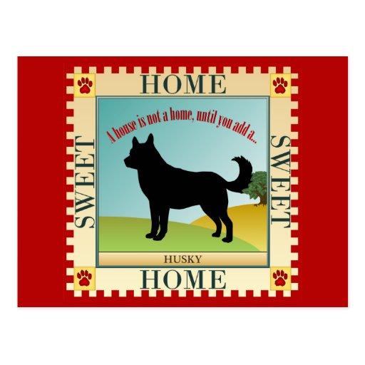 Hogar dulce casero - perro esquimal postal