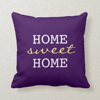 Hogar dulce casero púrpura oscuro - decoración cojín