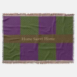 Hogar dulce casero tejido en verde y púrpura manta