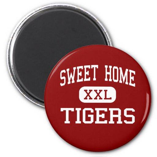 Hogar dulce - tigres - joven - Oregon casero dulce Imán Redondo 5 Cm