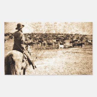 Hogar en el ranchero solitario del vaquero del pegatina rectangular