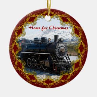 Hogar en el tren para el ornamento del navidad adorno navideño redondo de cerámica