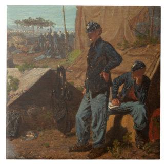 Hogar, hogar dulce, c.1863 (aceite en lona) azulejo cuadrado grande