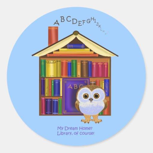 ¡Hogar ideal - biblioteca! Pegatinas Redondas