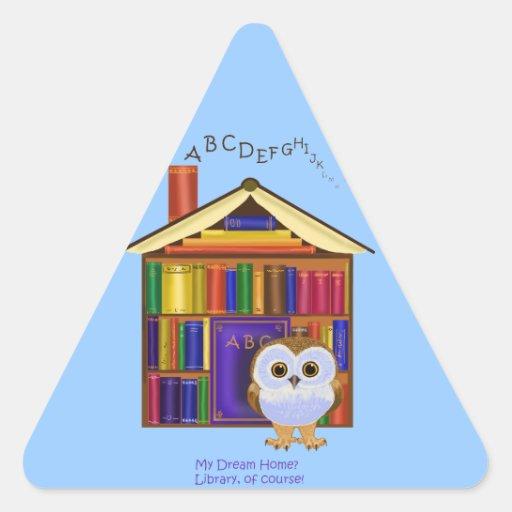 ¡Hogar ideal - biblioteca! Pegatinas Trianguladas