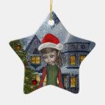 Hogar mágico del duende para el ornamento del adorno de cerámica en forma de estrella