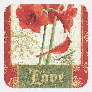 Hogar para el amor del Amaryllis del navidad Pegatina Cuadrada