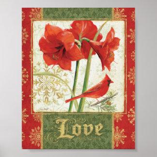 Hogar para el amor del Amaryllis del navidad Póster