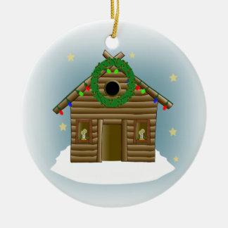 Hogar para el navidad de la cabaña de madera de ornamento de navidad