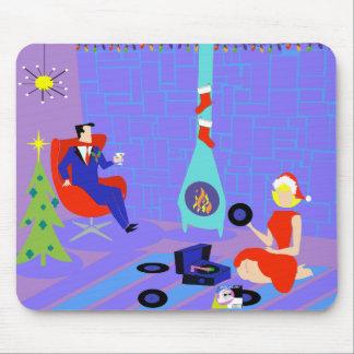 Hogar retro para el navidad Mousepad de los días