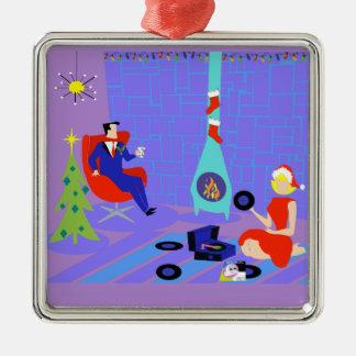 Hogar retro para el ornamento del navidad de los adorno cuadrado plateado
