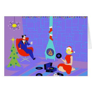 Hogar retro para la tarjeta de Navidad de los días
