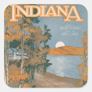 Hogar trasero otra vez en Indiana Pegatina Cuadrada