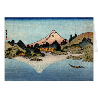 Hogares a lo largo del lago japonés tarjeta de felicitación
