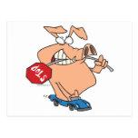 hogging el dibujo animado del cerdo del camino postal