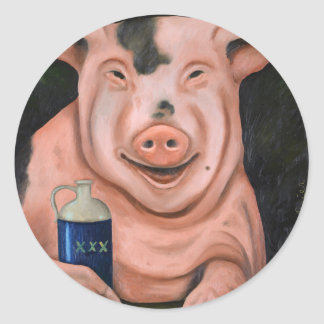 Hogging The Moonshine Classic Round Sticker