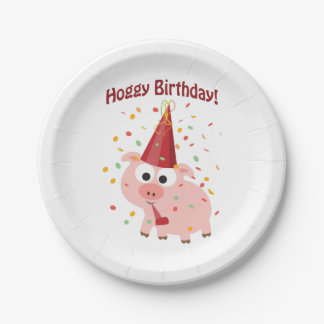 Hoggy Birthday! 7 Inch Paper Plate