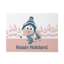 Hoggy Holidays! Cute Pink Pig Doormat