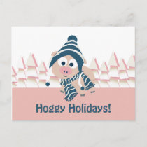 Hoggy Holidays! Cute Winter Pig Holiday Postcard