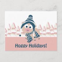 Hoggy Holidays! Cute Winter Pig Holiday Postcard