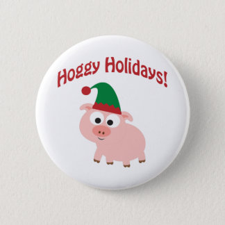 Hoggy Holidays! Elf Pig Button