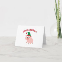 Hoggy Holidays! Elf Pig Holiday Card