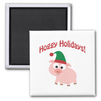 Hoggy Holidays! Elf Pig Magnet