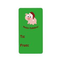 Hoggy Holidays! Santa Pig Label