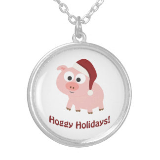 Hoggy Holidays! Santa Pig Silver Plated Necklace