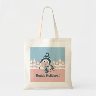 Hoggy Holidays! Winter Pig Canvas Bags