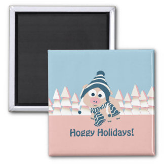 Hoggy Holidays! Winter Pig Magnet