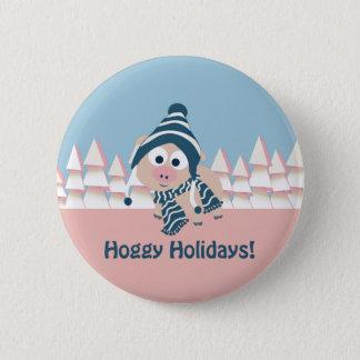 Hoggy Holidays! Winter Pig Pinback Button