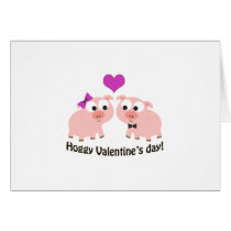 Hoggy Valentines Day Pigs Card
