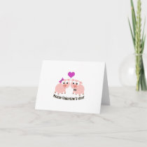 Hoggy Valentines Day Pigs Holiday Card