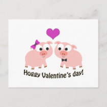 Hoggy Valentines Day Pigs Holiday Postcard