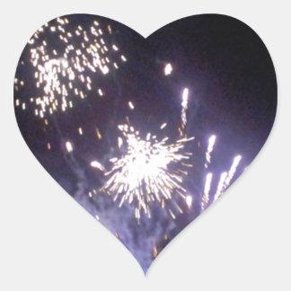 Hogmanay Fireworks Heart Sticker