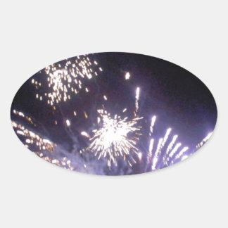 Hogmanay Fireworks Oval Sticker