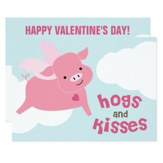 Hogs and Kisses Classroom Valentines Card